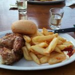 Half roast chicken and chips. Yum!