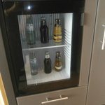 mini bar with complimentary drinks