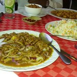 Shredded beef and onions with vegetable rice
