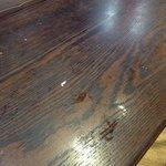 Des restes des clients précédents que l'employée n'a pas nettoyé