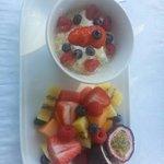 Delicious fruit platter and muesli