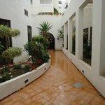 Внутри отеля открытый сад