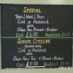 Specials Blackboard - discounts - Minster Fish Bar Howden (June 2014)