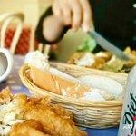 Fresh Bread & Butter in basket - Minster Fish Bar Howden (June 2014)