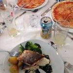 Sea bass and margarita pizza banquet.