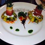 Zucchini fritters with Carpaccio of Salmon