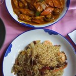 Top: Malaysian (curry) chicken rice; Bottom: Singapore Fried Noodles