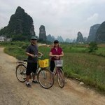 Nancy and Brad Cycling at Yangshuo.