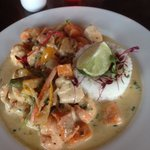 Thai green curry with butternut squash and sweet potato with the optional extra prawns and chick