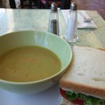 Turkey sourdough sandwich with sweet pea soup