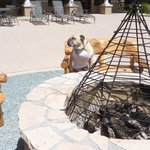 Travelin' Jack LUVs the Lodge Patio area-nice outdoor fire pit, comfy wood benches, and great vi