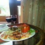 Sea food platter with wine