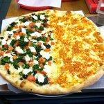 Specialty pizza: half buffalo chicken half veggie