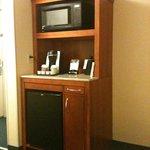Microwave, fridge, and Keurig