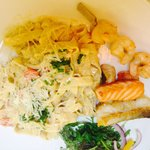 Clarks of ballina cod, salmon & prawn in our seafood pasta.