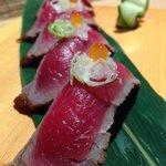 Half cooked beef sushi... Yami