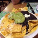Guacamole, black refried bean & chips