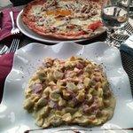 Pizza montanara e caramellina panna e prosciutto