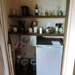Minibar fridge and coffee maker
