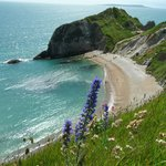 Approaching Durdle Door along the cliff path