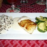 Grouper filet with wild rice and zucchini