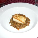 Salmon and lentil appetizer