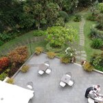 Looking down on the terrace and garden from the indoor pool