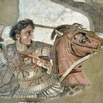 Portion of the damaged mosaic depicting Alexander the Great