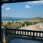 180 deg View from balcony...sea, island of Paros, salt lake