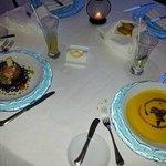 Salade de la mer et potage de patates douces au foie gras