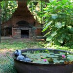 an old South view of the backyard - fireplace & water feature