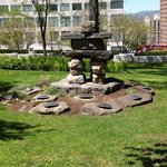 Inukchuck in garden at Parliment Building