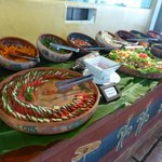 The salad and appetizer section of the buffet