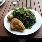 Fried Chicken, Side Salad and Kale Salad