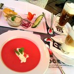 Entree - very nice raspberry soup with mint