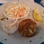 crab cake and coleslaw