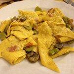 Fresh handmade pasta with favas