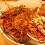 The Red Roost 5 Crab Combo with Clam Strips, Fried Chicken, Fried Shrimp, Fries, Hush Puppies an