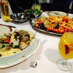 Pasta with clams, Seafood Platter