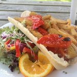 Baguette, chips and salad - very reasonable and tasty