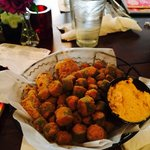 Fried Green Tomatoes and Okra! Amazing!