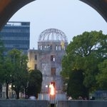 Atomic Bomb Dome and Flame from Cenotaph at the Peace Park