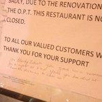 Restaurant closed