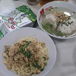 Traditional Chinese Noodle and fish dumplings