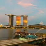 view of the MBS at sunset
