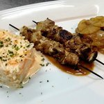 Prok Kebabs served with classical coleslaw and Salad Potatoes