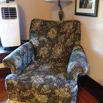 Comfy chair in garnet room