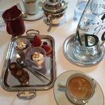 Petits fours and cherry mousse with coffee