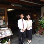 Owner Takayuki Hachisuka and his wife