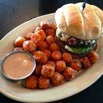 Drunken Burger with Sweet Potato Tots
